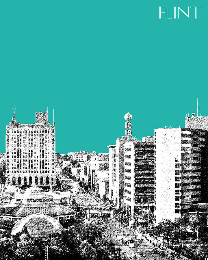 Flint Michigan Skyline - Teal Digital Art