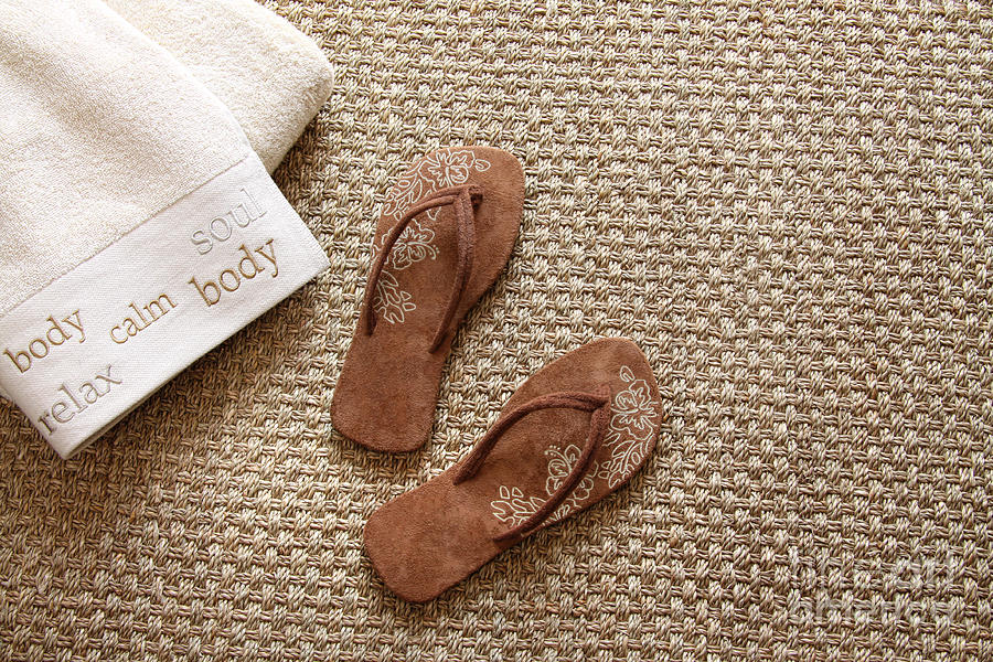 Flip Flops With Towels On Seagrass Rug Photograph  - Flip Flops With Towels On Seagrass Rug Fine Art Print