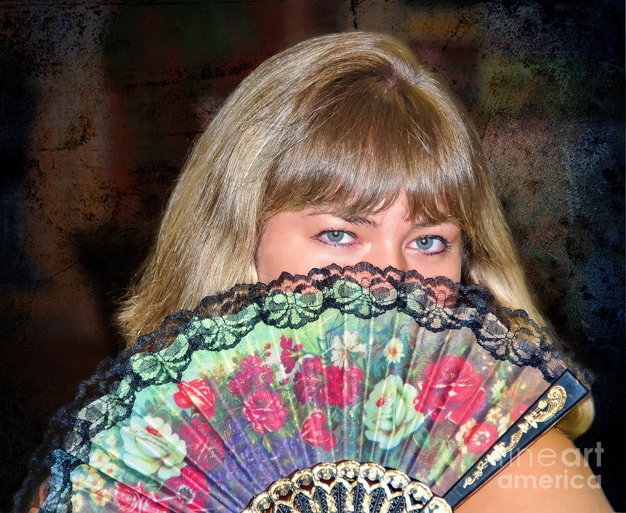 Flirty Photograph - Flirting With The Fan by Mariola Bitner