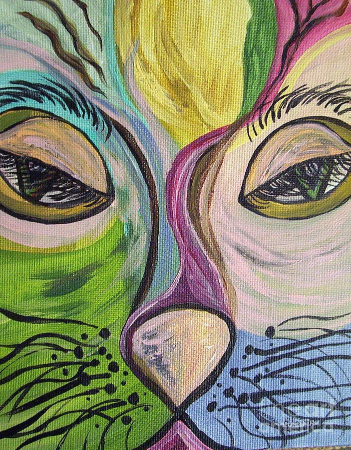 Flirty Feline ... Cat Eyes Painting  - Flirty Feline ... Cat Eyes Fine Art Print