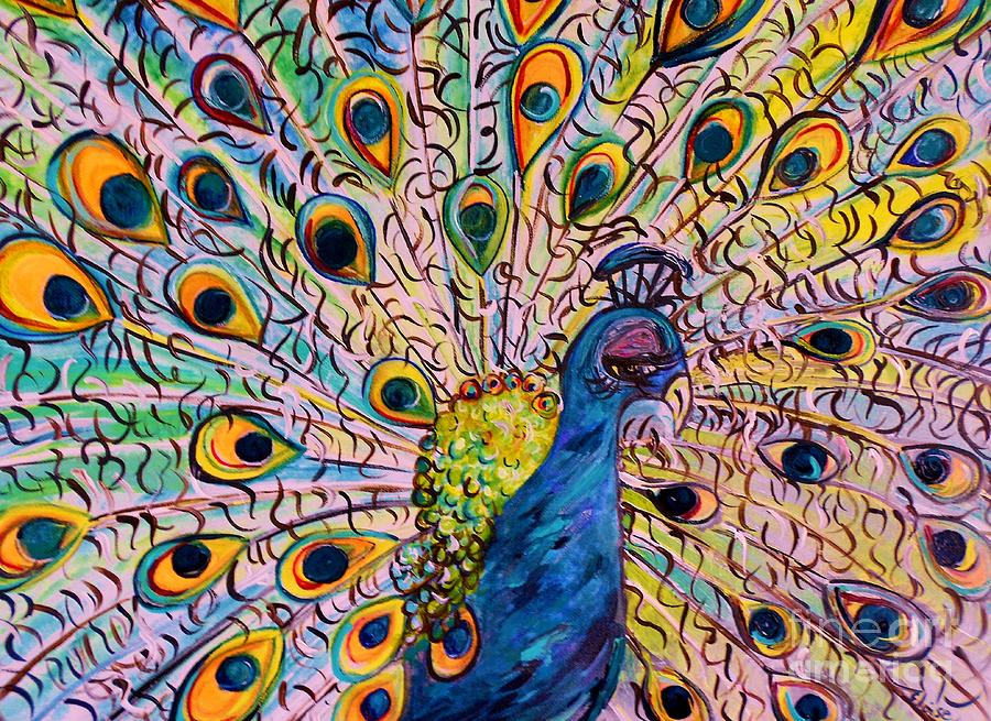 Peacock Painting - Flirty Peacock by Eloise Schneider