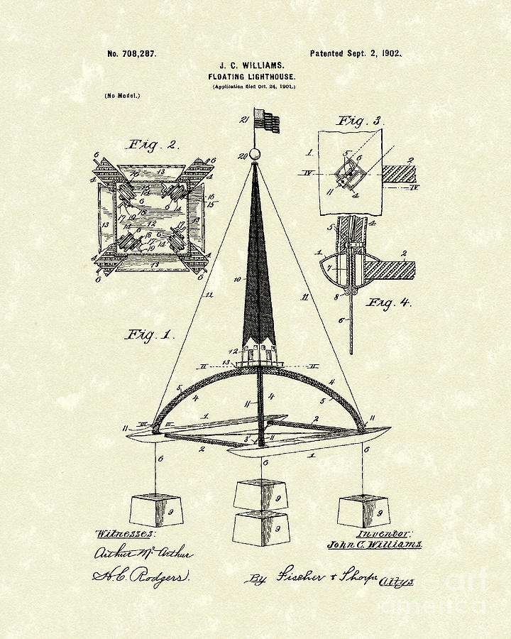 Floating Lighthouse 1902 Patent Art Drawing  - Floating Lighthouse 1902 Patent Art Fine Art Print