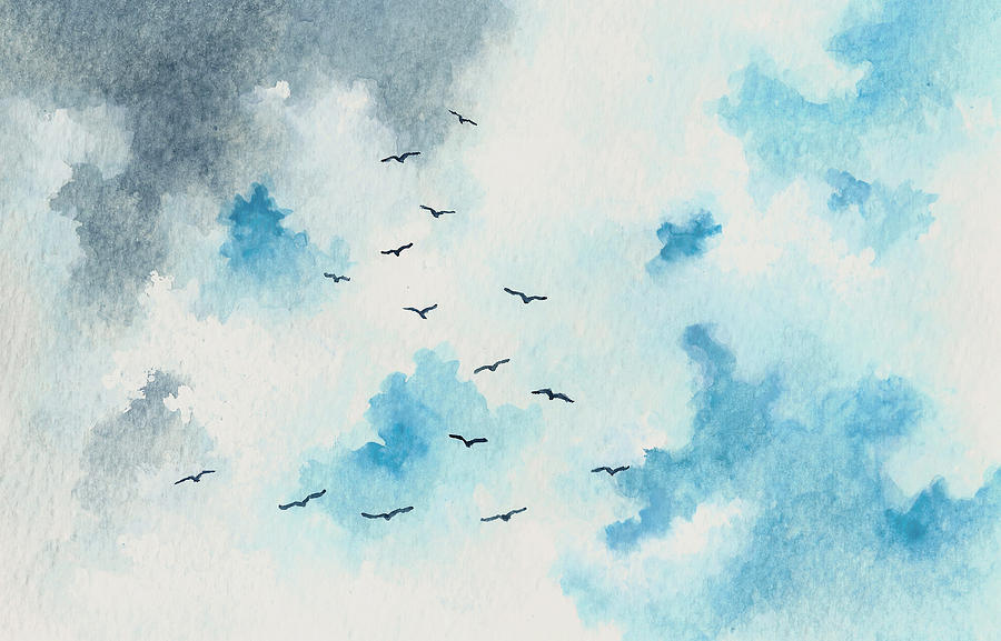 Flock Of Birds Painting  - Flock Of Birds Fine Art Print