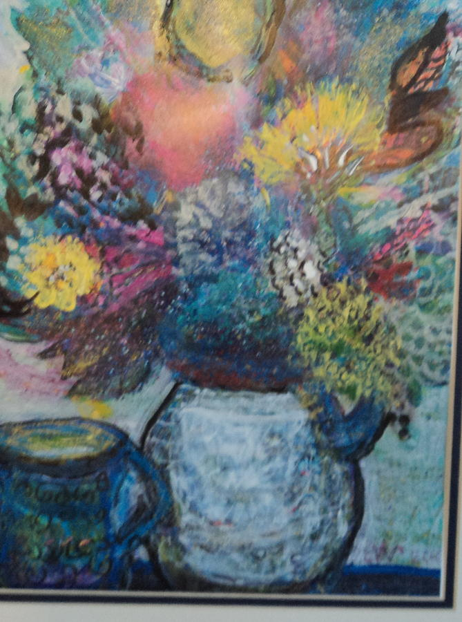 Floral Mixed Media - Floral Fantasy With Vase And Cup by Anne-Elizabeth Whiteway
