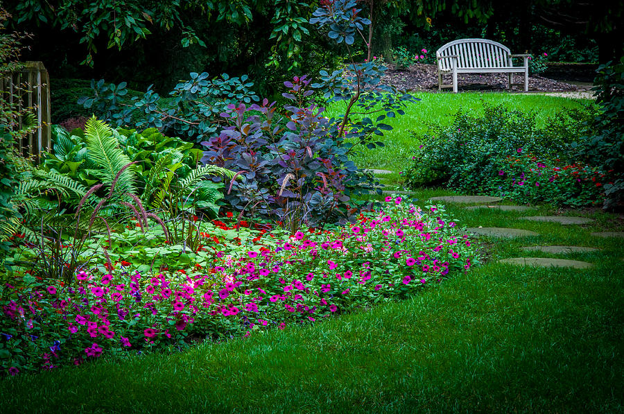 Garden Photograph - Floral Garden Walk And Park Bench by Gene Sherrill