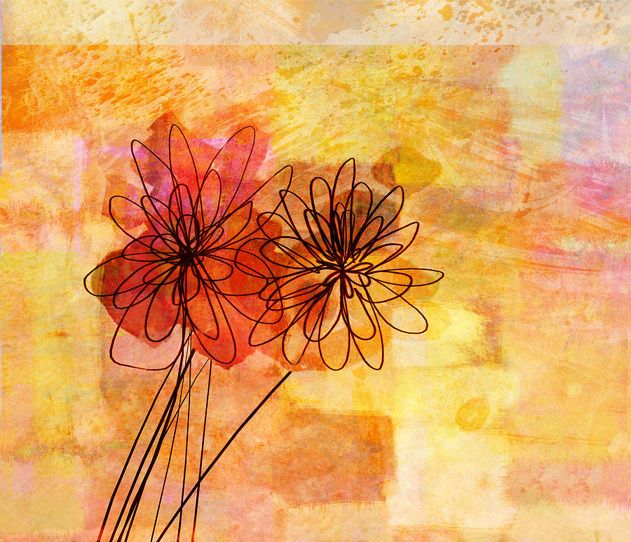 Floral whimsy abstract flowers by ann powell for Abstract art flowers paintings