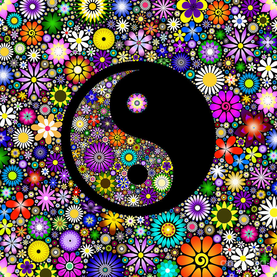 Floral Yin Yang Digital Art