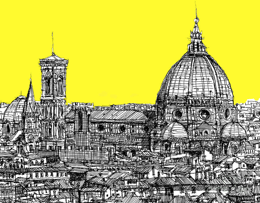 Florence Duomo In Acid Yellow Drawing  - Florence Duomo In Acid Yellow Fine Art Print