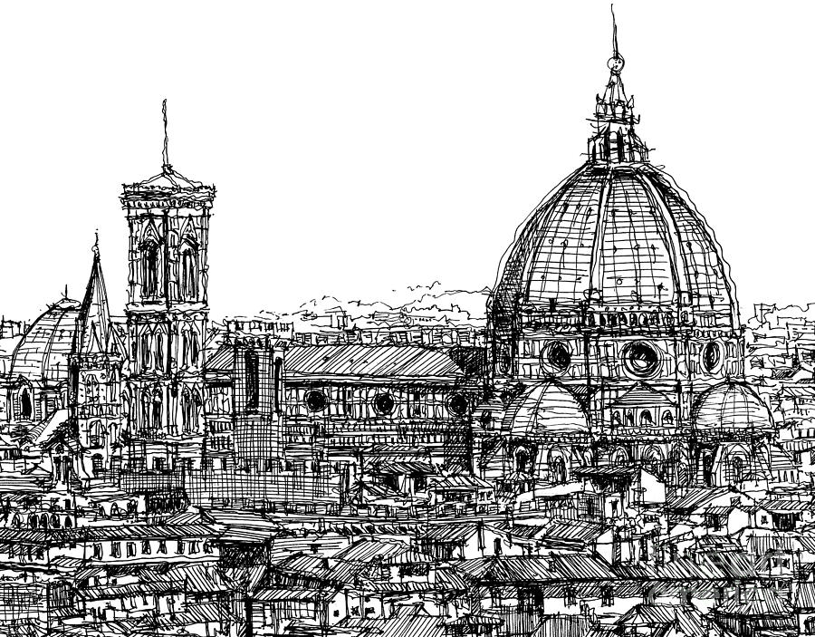 Florence Drawing - Florence Duomo In Ink  by Adendorff Design