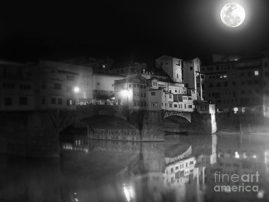 Florence Italy - Ponte Vecchio At Night Painting  - Florence Italy - Ponte Vecchio At Night Fine Art Print