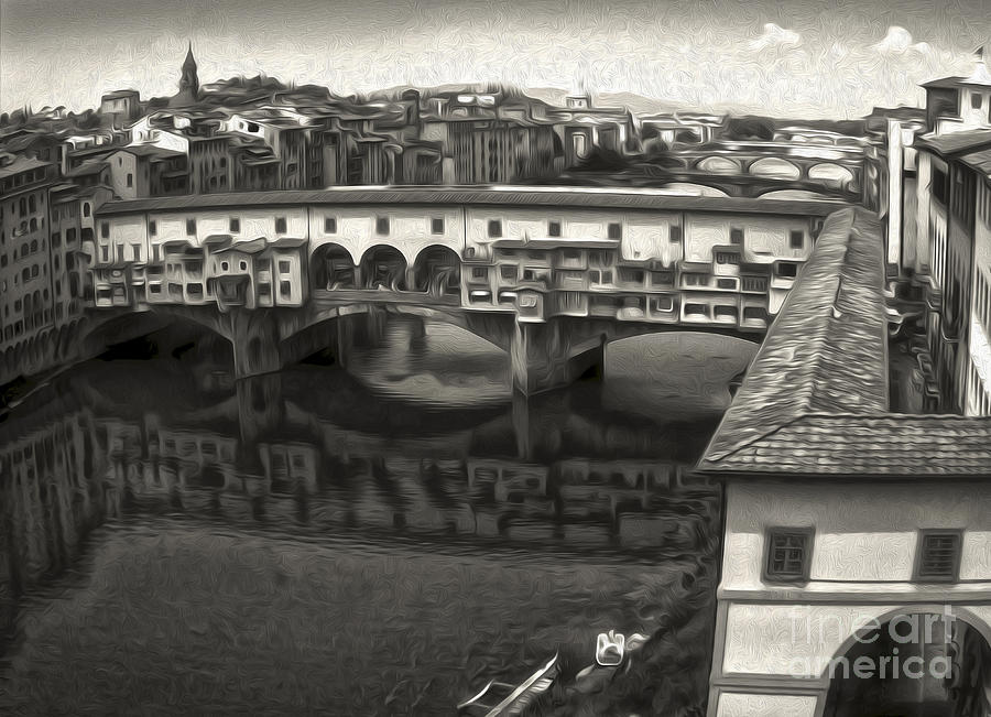Florence Italy - Ponte Vecchio In Sepia Painting