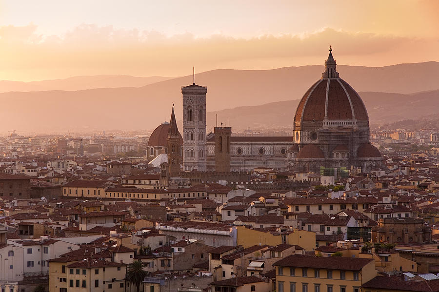 Florence Skyline At Sunset Pastel  - Florence Skyline At Sunset Fine Art Print
