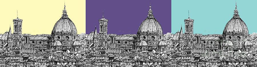 Florence Drawing - Florences Duomo In Pastels by Adendorff Design