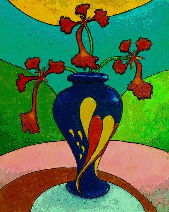 Flores De Flamboyan En Una Jarra Multicolor  Painting