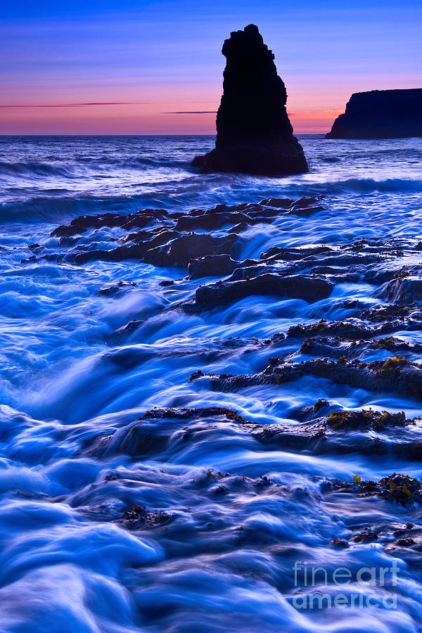 Flow - Dramatic Sunset View Of A Sea Stack In Davenport Beach Santa Cruz. Photograph