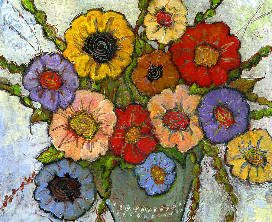 Colorful Painting - Flower Bouquet by Blenda Studio