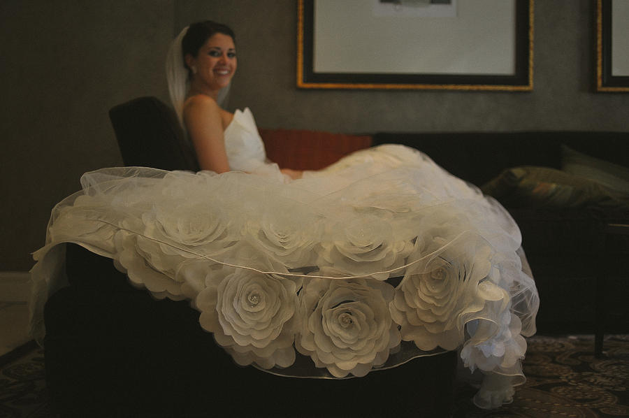 Bride Photograph - Flower Dress Bride by Mike Hope