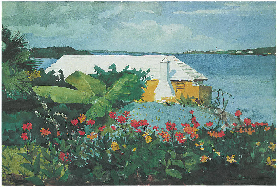 Flower Garden And Bungalow Bermuda Painting  - Flower Garden And Bungalow Bermuda Fine Art Print