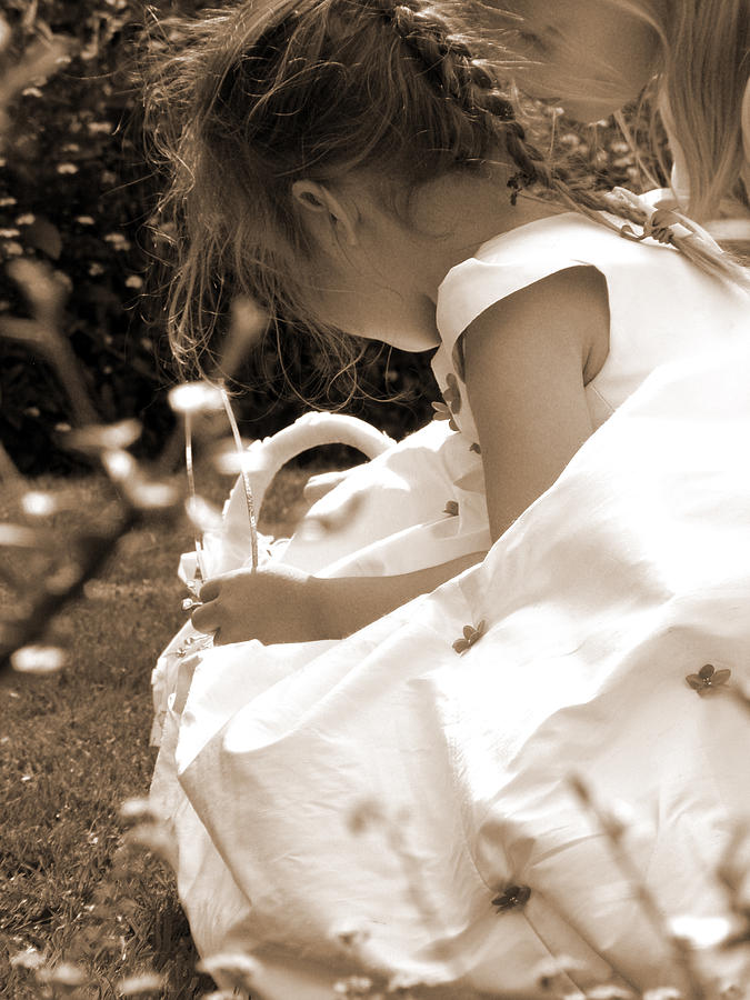 Flower Girls In Sepia Photograph  - Flower Girls In Sepia Fine Art Print