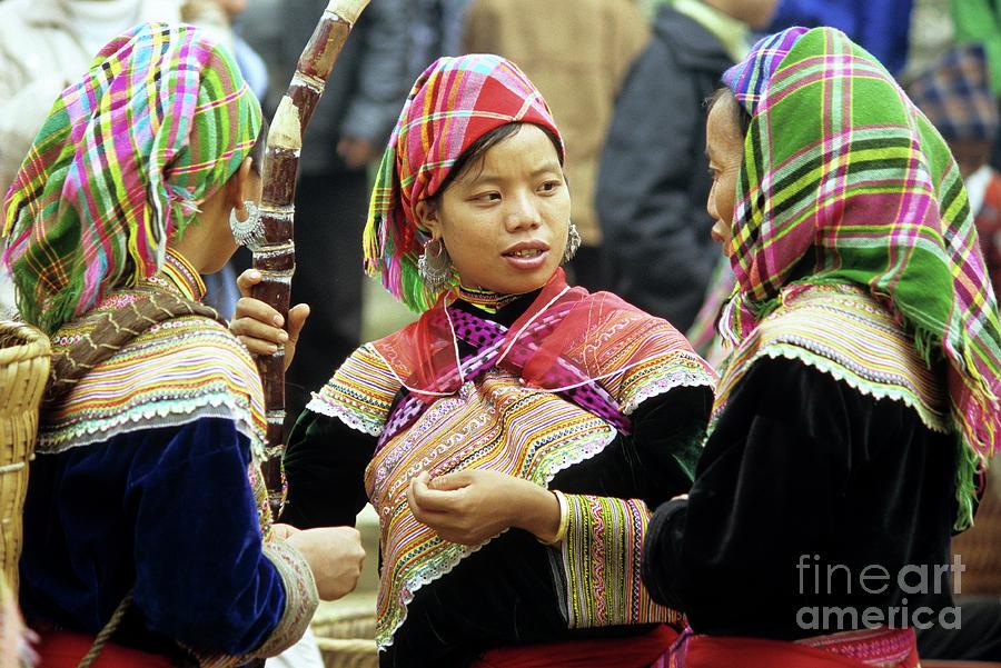 Vietnam Photograph - Flower Hmong Women by Rick Piper Photography