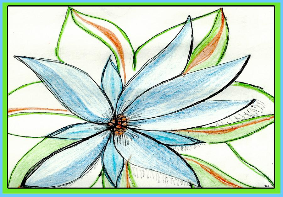 Flower In Blue Drawing  - Flower In Blue Fine Art Print