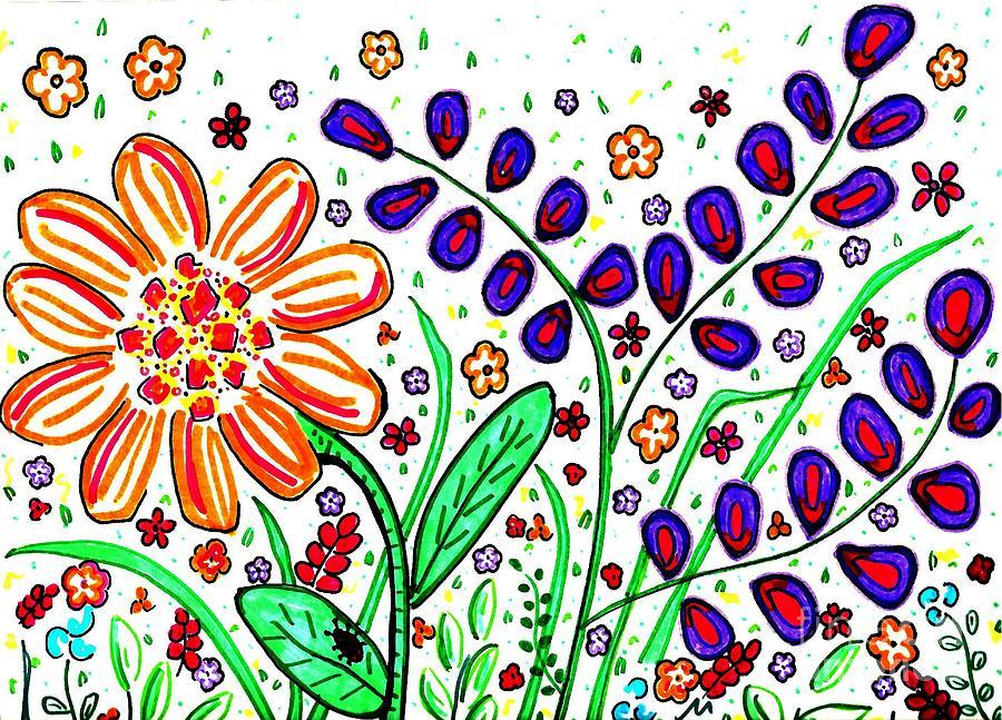 Floral Drawing - Flower Joy by Sarah Loft
