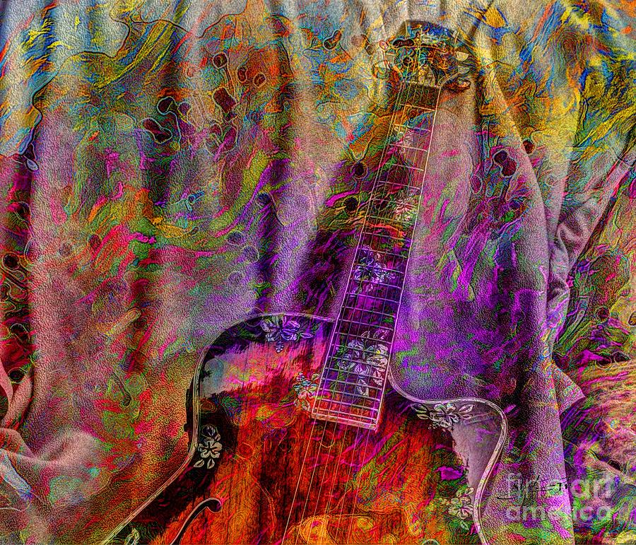 Flower Power Digital Guitar Art By Steven Langston Photograph  - Flower Power Digital Guitar Art By Steven Langston Fine Art Print