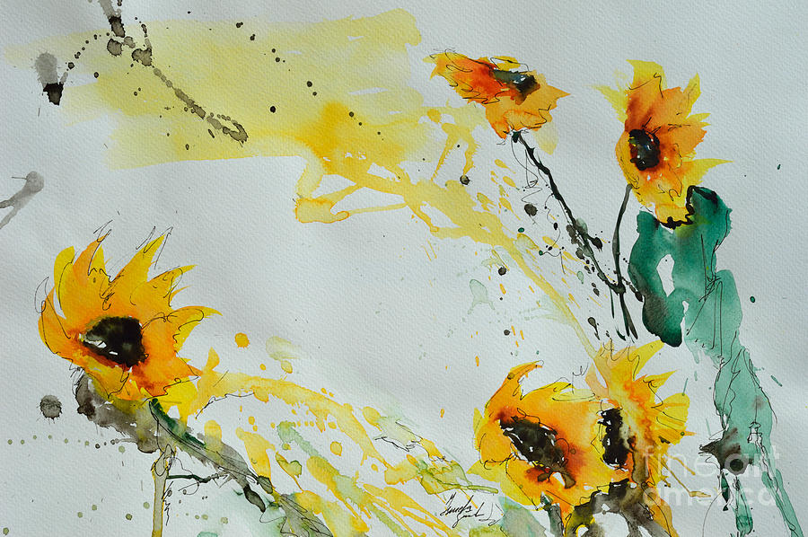 Flower Power- Sunflower Painting  - Flower Power- Sunflower Fine Art Print