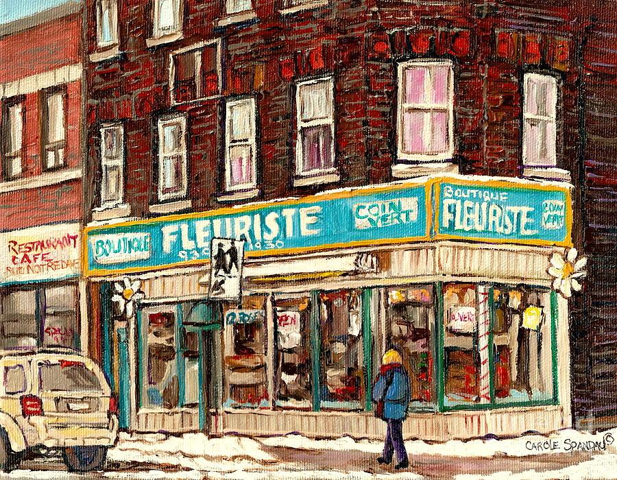 Flower Shop Rue Notre Dame Street Coin Vert Fleuriste Boutique Montreal Winter Stroll Scene Painting