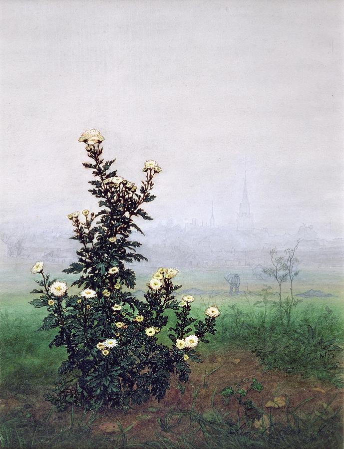 Flowering Chrysanthemum With Worker Painting - Flowering Chrysanthemum With Worker by Leon Bonvin