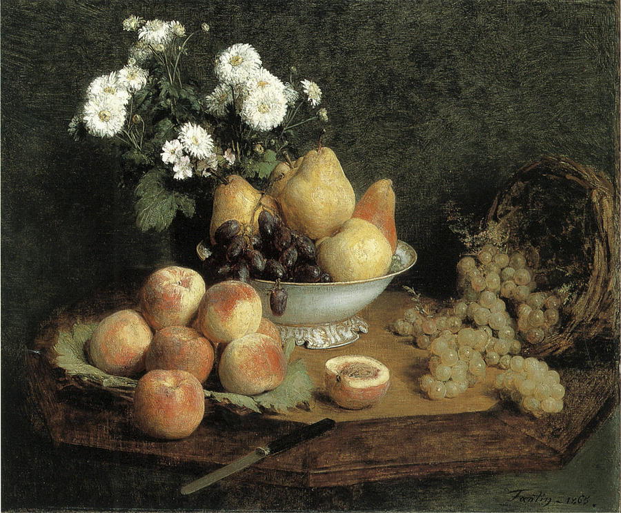 Flowers And Fruit On A Table Painting