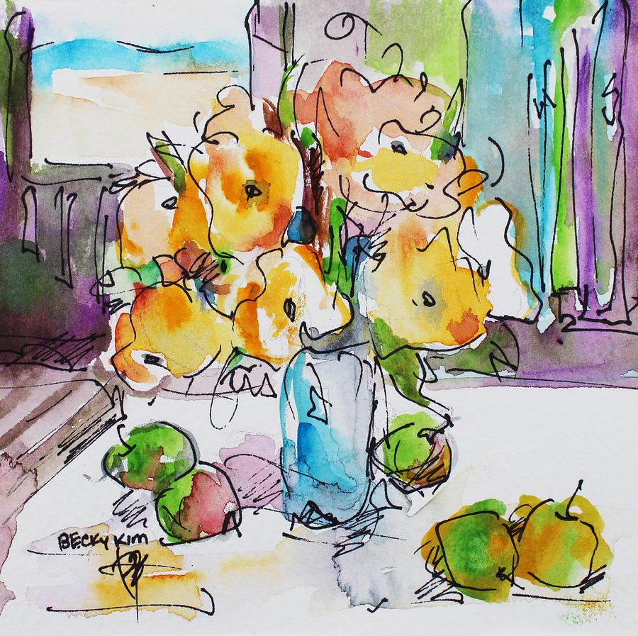 Flowers Painting - Flowers And Green Apples by Becky Kim