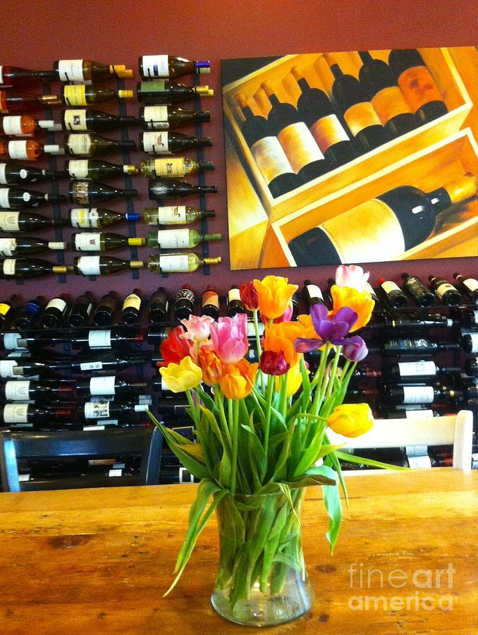 Flowers Photograph - Flowers And Wine by Susan Garren