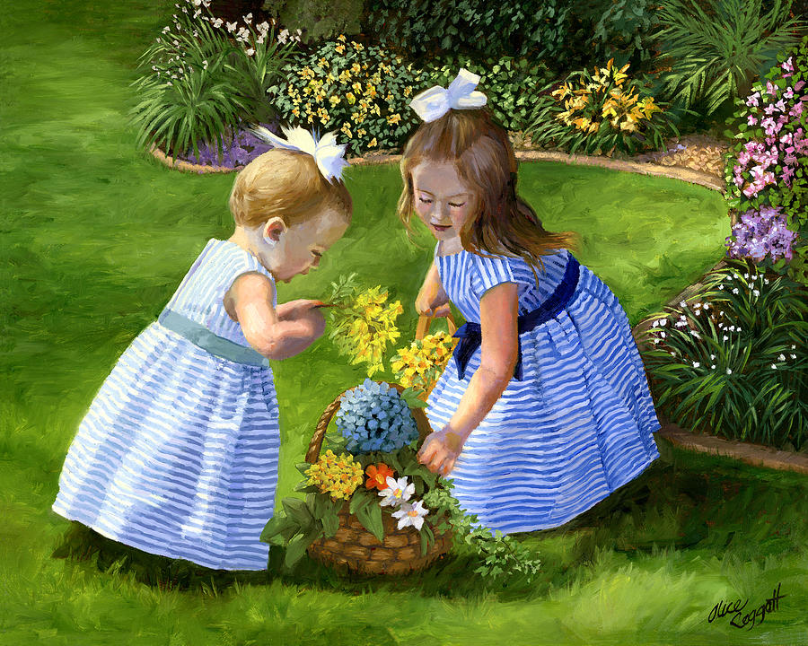 Girls Painting - Flowers For Mama With Girls Garden Basket Bouquet by Alice Leggett