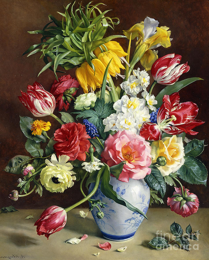 Flowers In A Blue And White Vase Painting