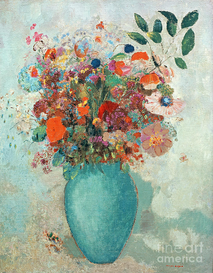 Flowers In A Turquoise Vase Painting By Odilon Redon
