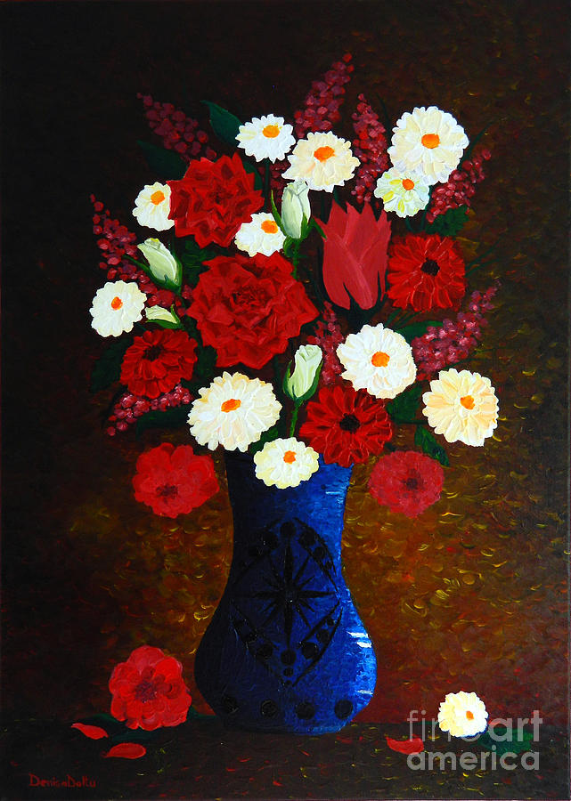 Flowers In A Vase Painting  - Flowers In A Vase Fine Art Print