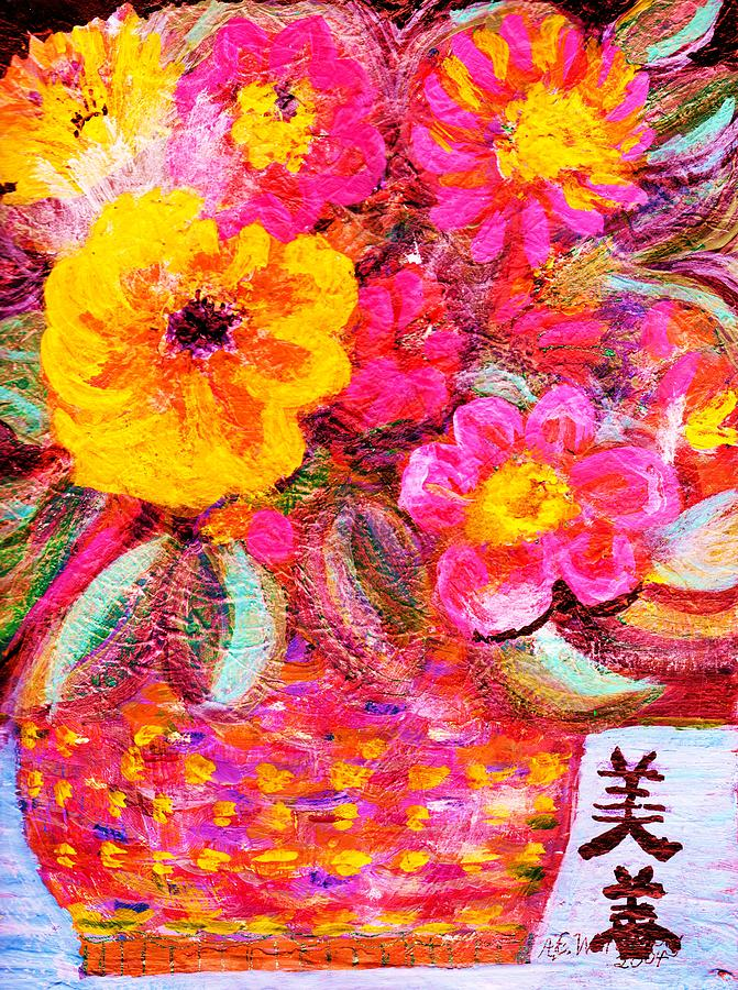 Floral Painting - Flowers In Basket With Chinese Characters by Anne-Elizabeth Whiteway
