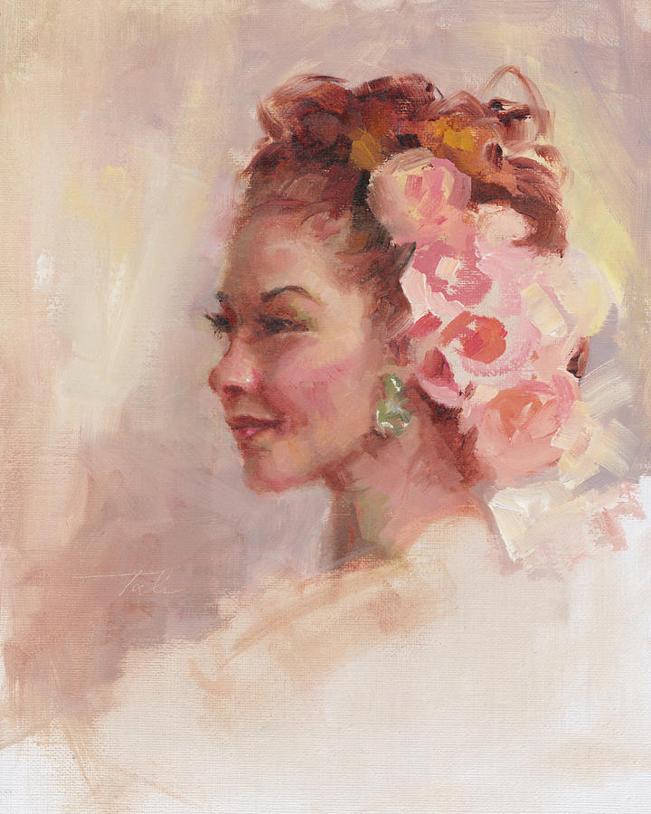 Flowers In Her Hair - Portrait Painting