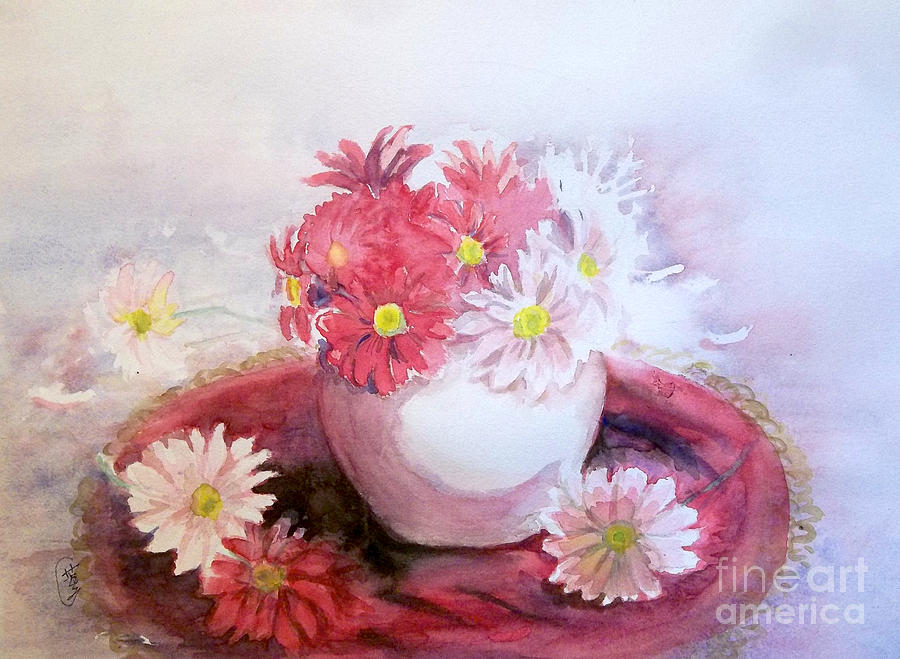 Flowers In Pot Painting
