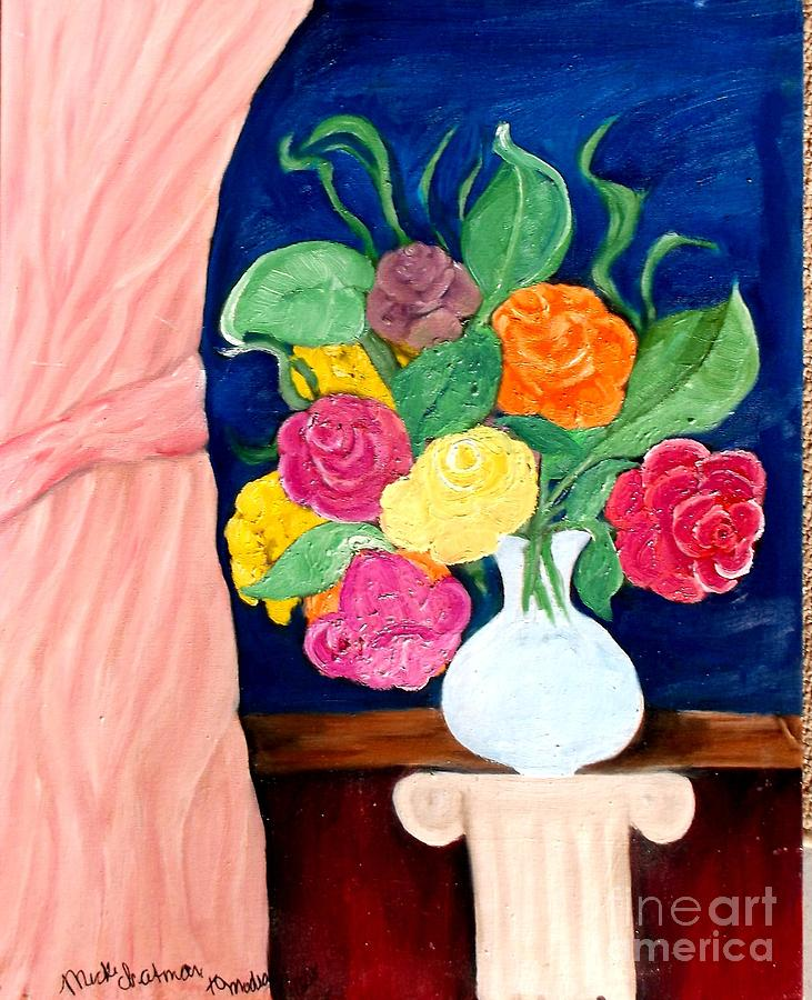 Flowers In Window Painting