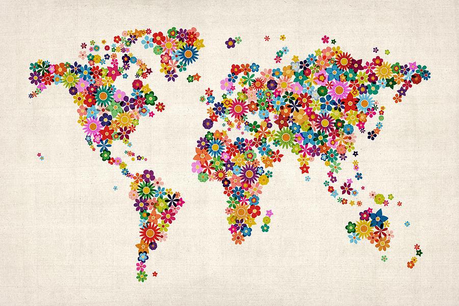 World Map Digital Art - Flowers Map Of The World Map by Michael Tompsett