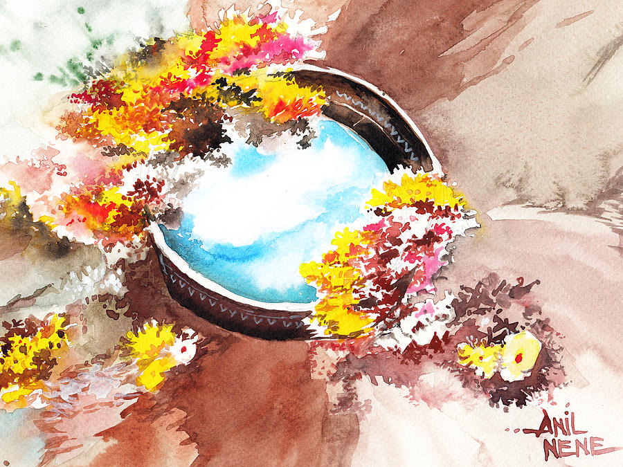 Nature Painting - Flowers N Sky by Anil Nene