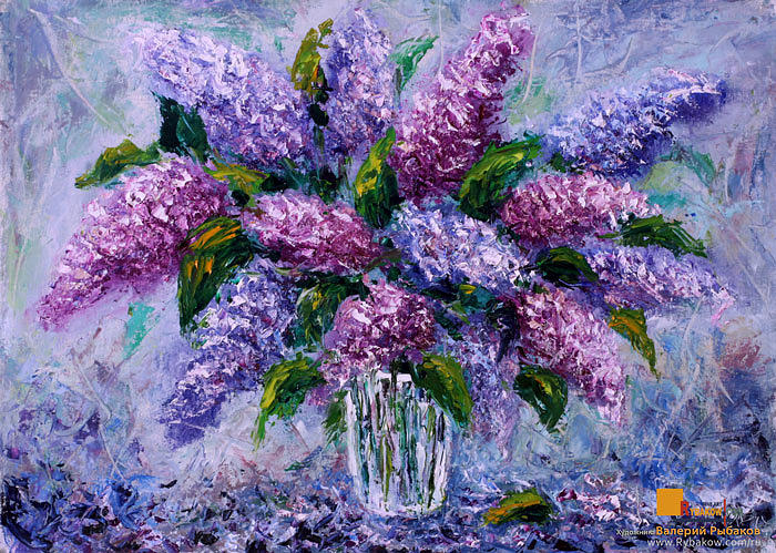 Flowers oil painting bouquet fresh flowers lilac painting for How to paint flowers with oil paint