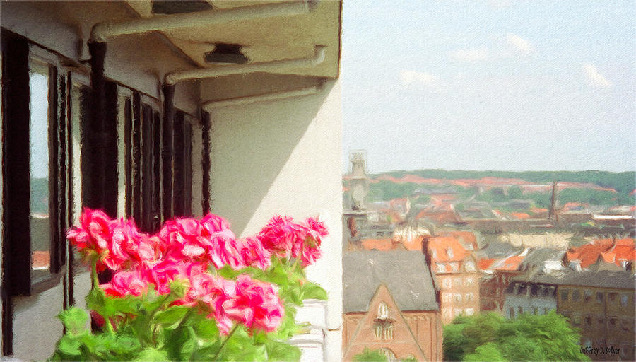 Flowers On The Balcony Painting