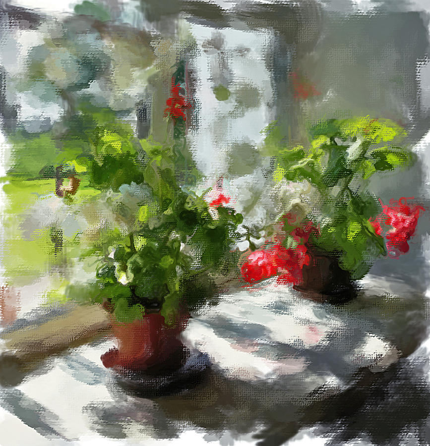 Flowers On The Window Digital Art