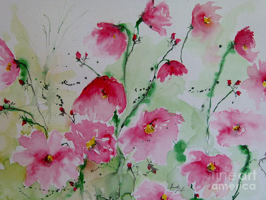 Flowers Painting - Flowers - Watercolor Painting by Ismeta Gruenwald