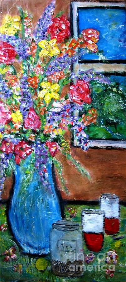 Flowers With Tea Jar Painting  - Flowers With Tea Jar Fine Art Print
