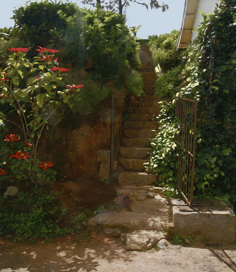 Landscape Painting - Flowery Stairway by Dominique Amendola
