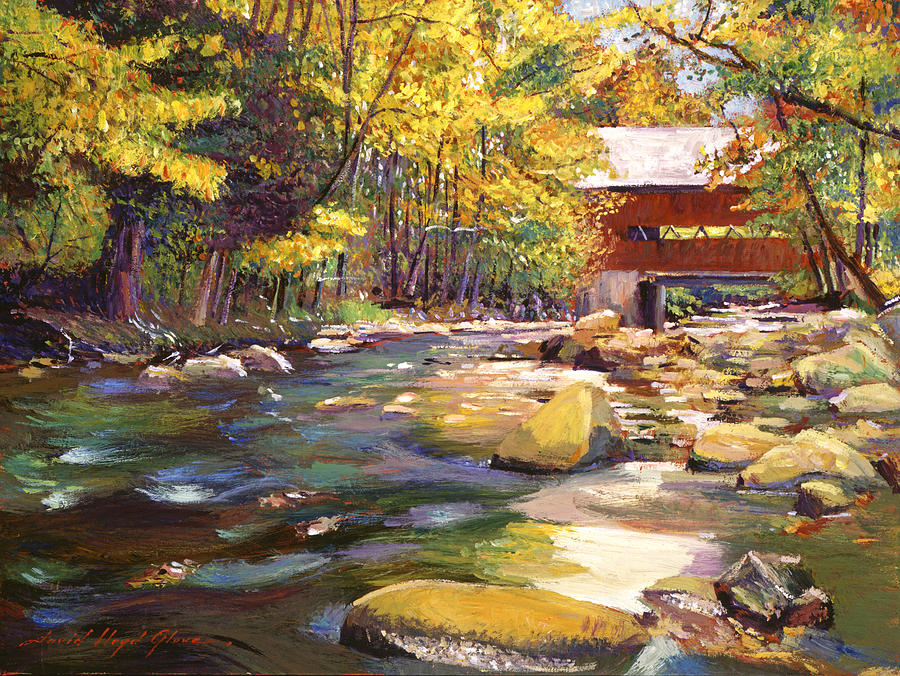 Flowing Water At Red Bridge Painting  - Flowing Water At Red Bridge Fine Art Print